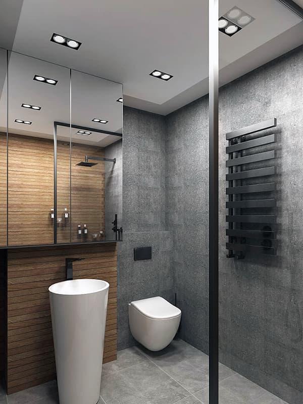 Ванна кімната в сірих відтінках