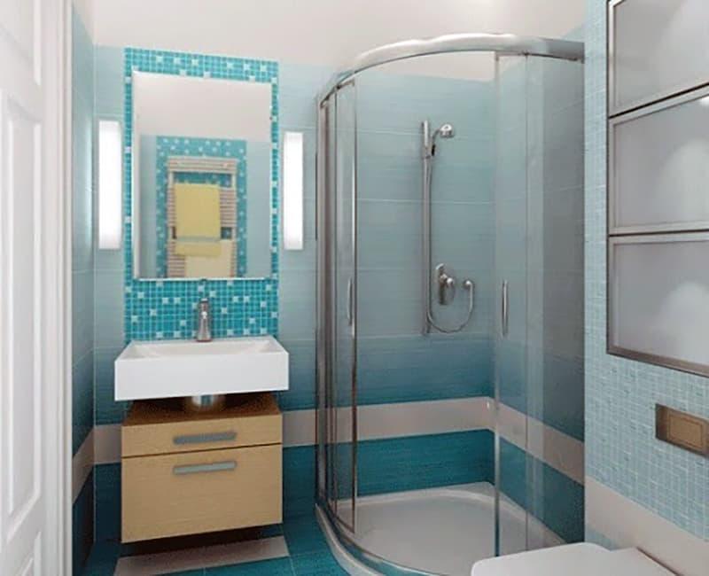 Ванна кімната в синіх тонах