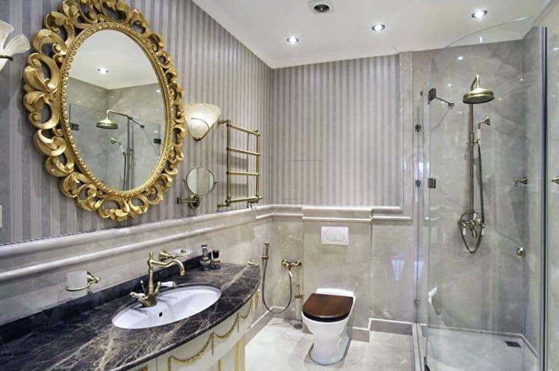 Ванная комната в теплых оттенках